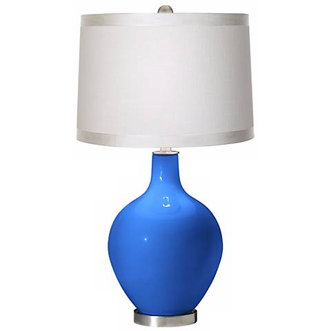 Royal Blue White Drum Shade Ovo Table Lamp
