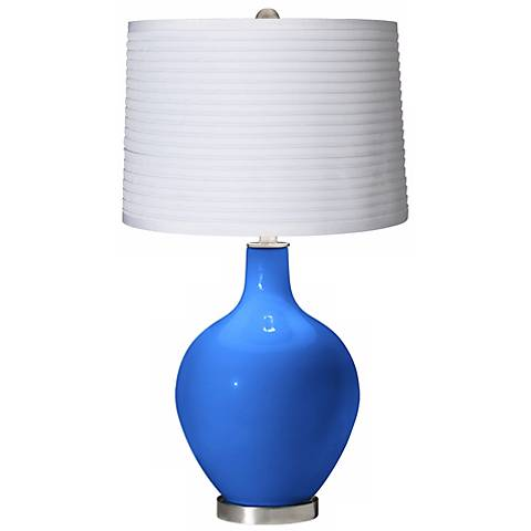 Royal Blue White Pleated Shade Ovo Table Lamp