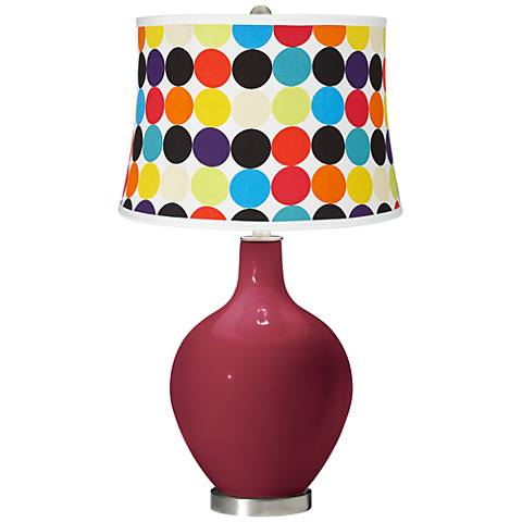 Antique Red Multi Mod Circles Shade Ovo Table Lamp