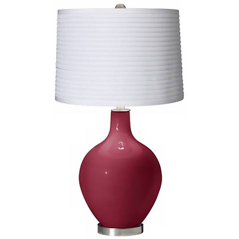 Antique Red White Pleated Shade Ovo Table Lamp