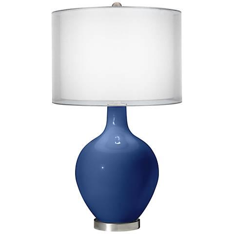 Monaco Blue Double Sheer Silver Shade Ovo Table Lamp
