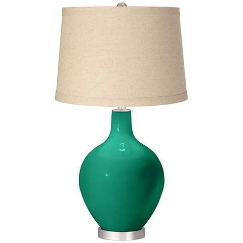 Leaf Burlap Drum Shade Ovo Table Lamp