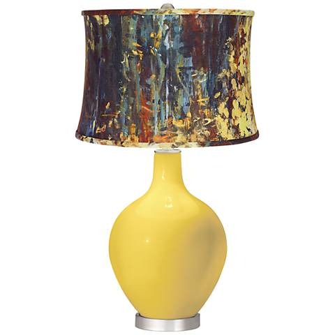 Lemon Zest Oil Paint Shade Ovo Table Lamp