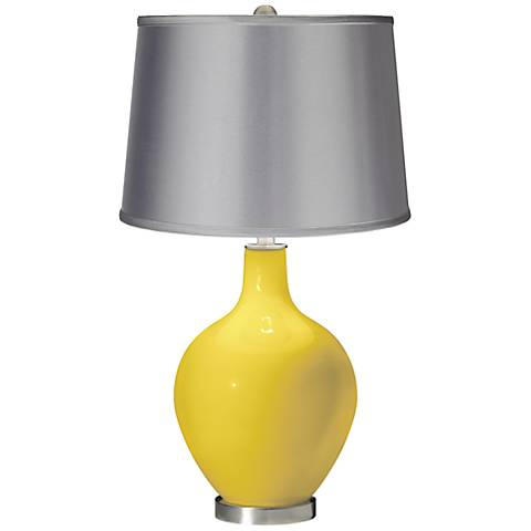 Lemon Zest - Satin Light Gray Shade Ovo Table Lamp