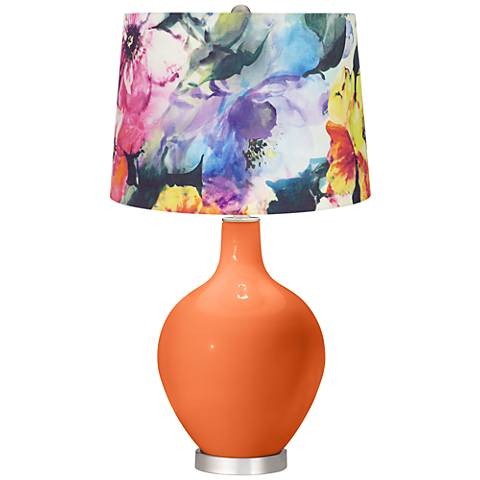 Nectarine Watercolor Floral Shade Ovo Table Lamp
