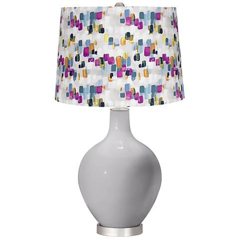 Swanky Gray Paint Stroke Shade Ovo Table Lamp