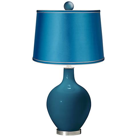 Oceanside - Satin Turquoise Ovo Lamp with Color Finial