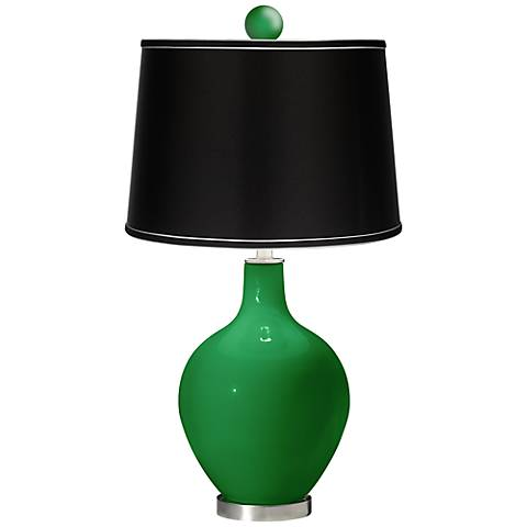 Envy - Satin Black Ovo Table Lamp with Color Finial
