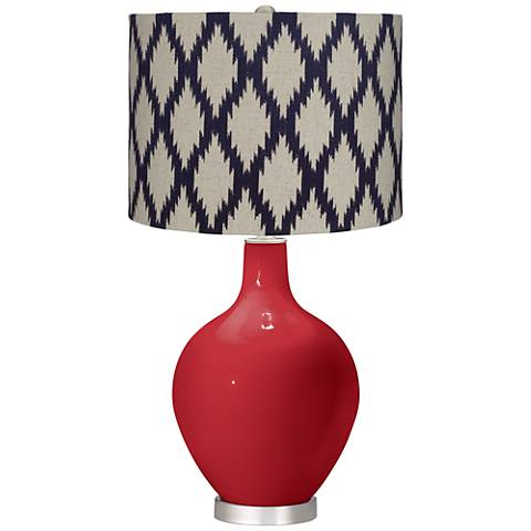 Ribbon Red Beige Diamonds Ovo Table Lamp