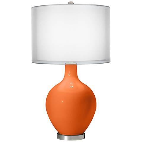 Invigorate Double Sheer Silver Shade Ovo Table Lamp