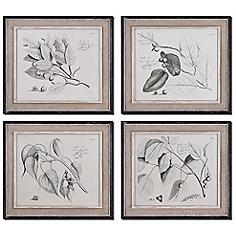 Set of 4 Sepia Leaf Study Uttermost Wall Art