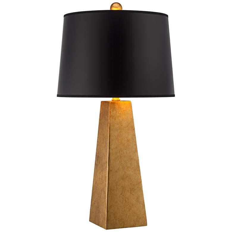 Possini Euro Design Gold Leaf Obelisk Table Lamp