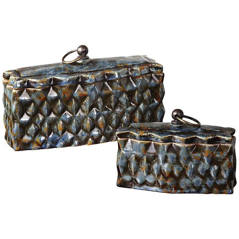 Set of 2 Uttermost Neelab Blue Ceramic Boxes