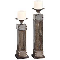 Set of 2 Uttermost Lican Wood and Metal Candle Holders