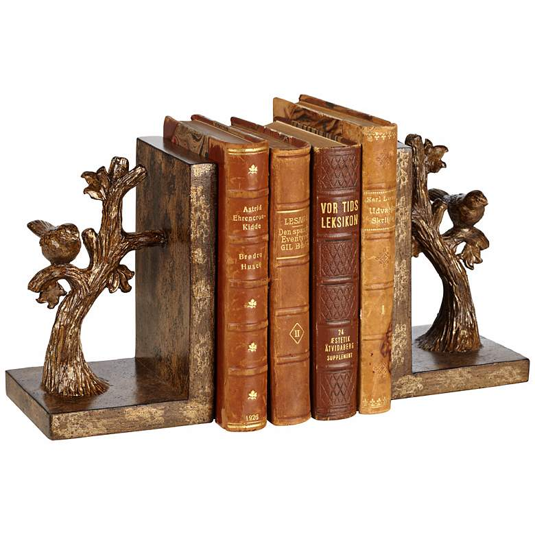 """Bird on Branch 7"""" High Bronze Bookends Set"""
