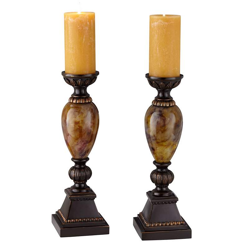 "Kathy Ireland Mulholland 16""H Pillar Candle Holders Set of 2"