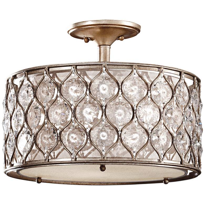 """Feiss Lucia 16"""" Wide Crystal Glass Ceiling Light"""