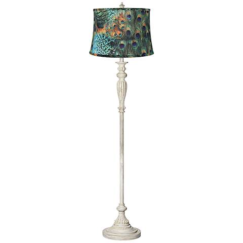 Peacock print shade shabby chic antique white floor lamp x2730 peacock print shade shabby chic antique white floor lamp aloadofball Images