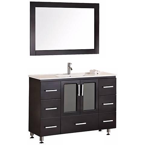 """Stanton Dark Espresso 48"""" Wide Drop In Sink Vanity Set"""