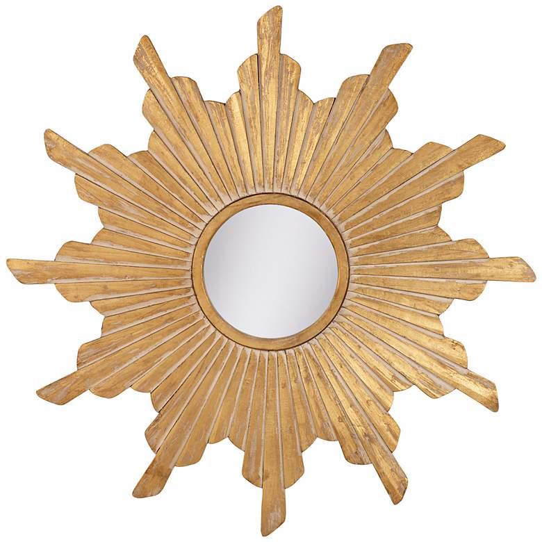 Vela Distressed Gold Sunburst Wall Mirror