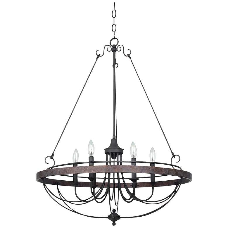 "Helena Bronze 6-Light 28"" Wide Forged Iron Chandelier"