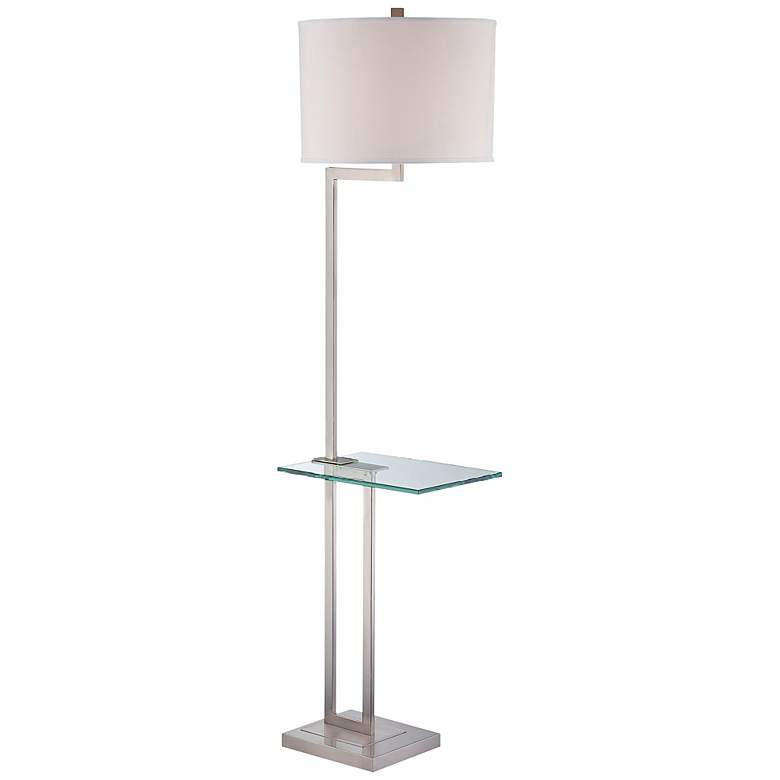 Rudko Polished Steel Floor Lamp with Glass Tray Table