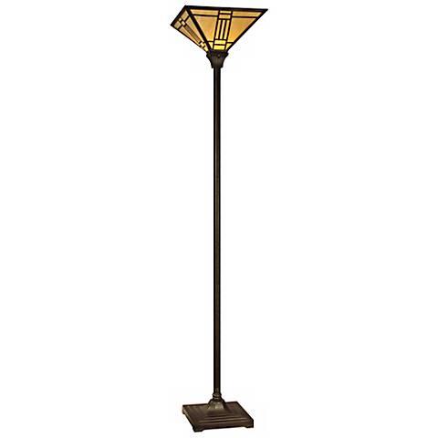Dale Tiffany Noir Art Glass Torchiere Floor Lamp