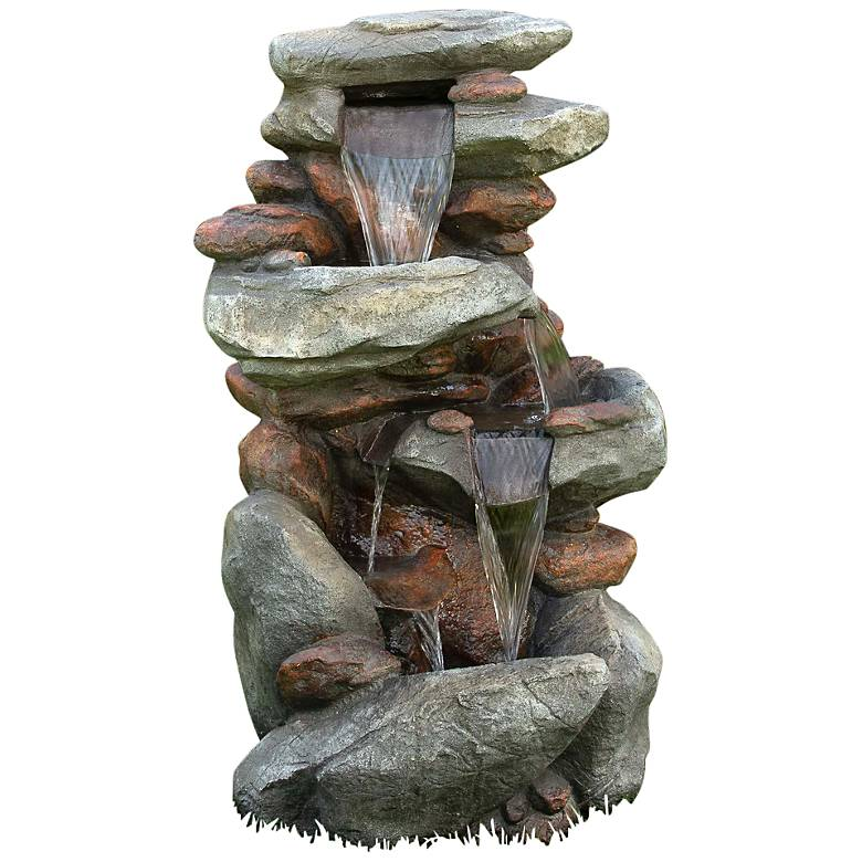 """Rock Waterfall 40"""" High Outdoor Fountain with LED Lights"""