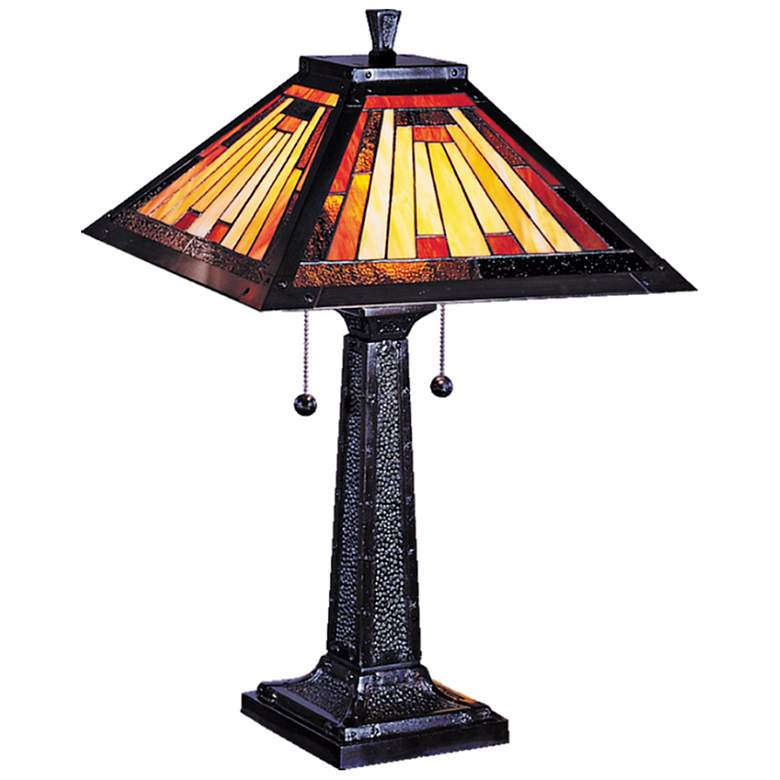 Dale Tiffany Mission Camelot Art Glass Table Lamp