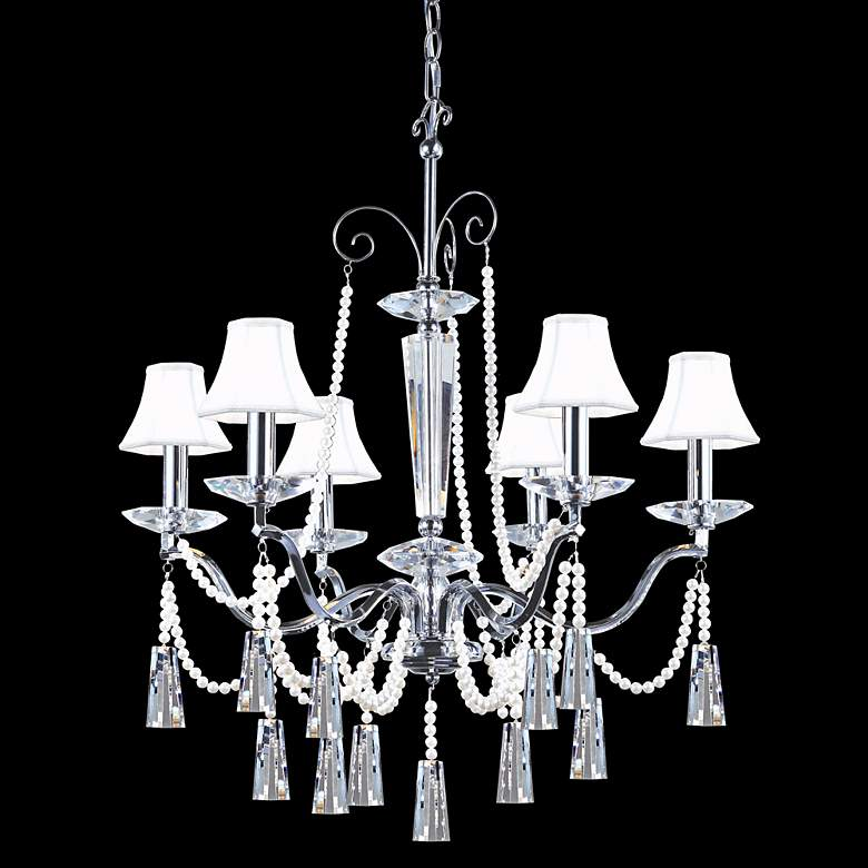 """James R. Moder 29"""" Wide Crystal and White Shades Chandelier"""