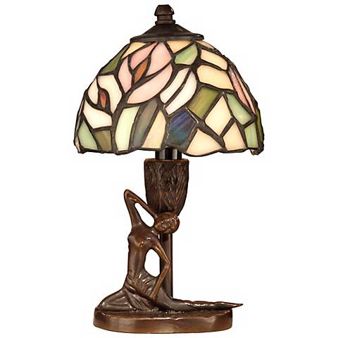 "Dale Tiffany 9 1/2""H Lady Art Glass Accent Lamp"