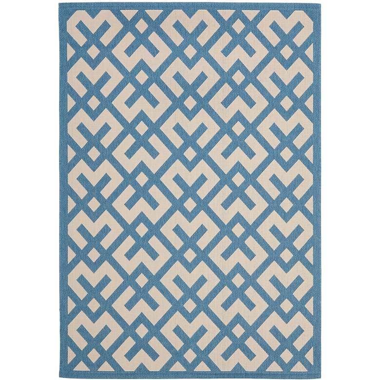 """Courtyard Collection CY6915C 5'3""""x7'7"""" Blue Area Rug"""