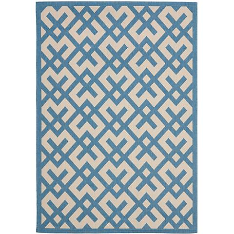Courtyard Collection CY6915C Blue Area Rug