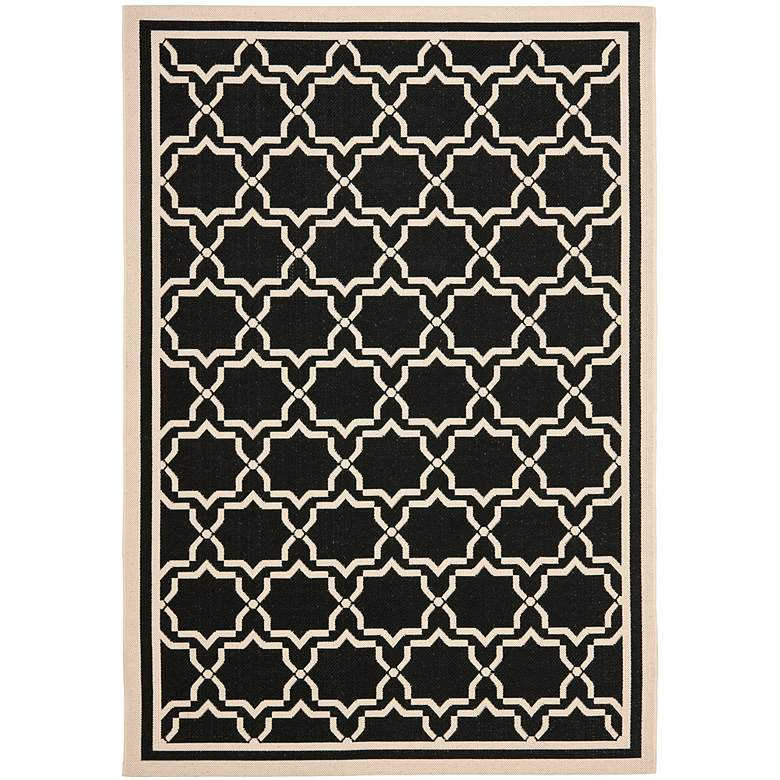 "Courtyard Collection CY6916C 5'3""x7'7"" Black Area Rug"