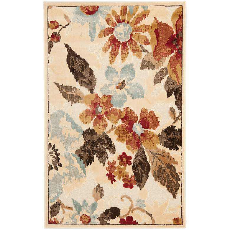 """Paradise Collection PAR148C 5'2""""x7'6"""" Floral Area Rug"""