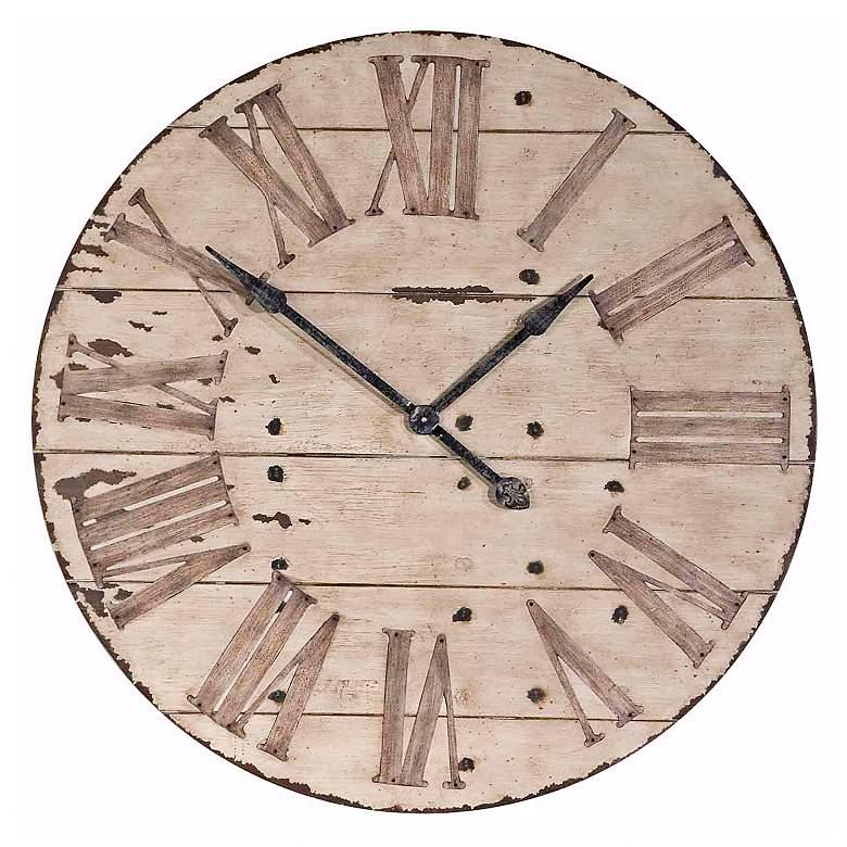 "Harrington 36"" Wide Farmhouse Rustic Wall Clock by Uttermost"