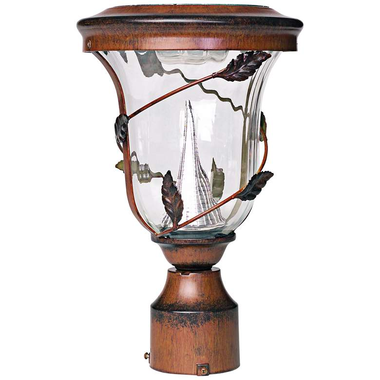 "Flora Antique Bronze 13"" High Solar LED Pole Light"