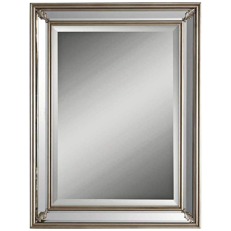 """Jansen Antiqued Silver Leaf 26"""" x 34"""" Wall Mirror"""