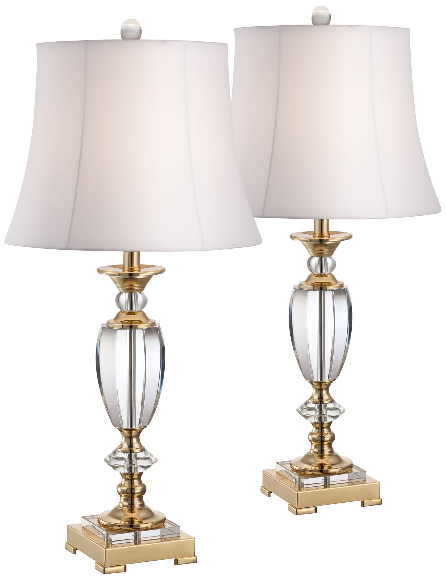 Crystal and brass table lamp set of 2 x4628 x4628 lamps plus