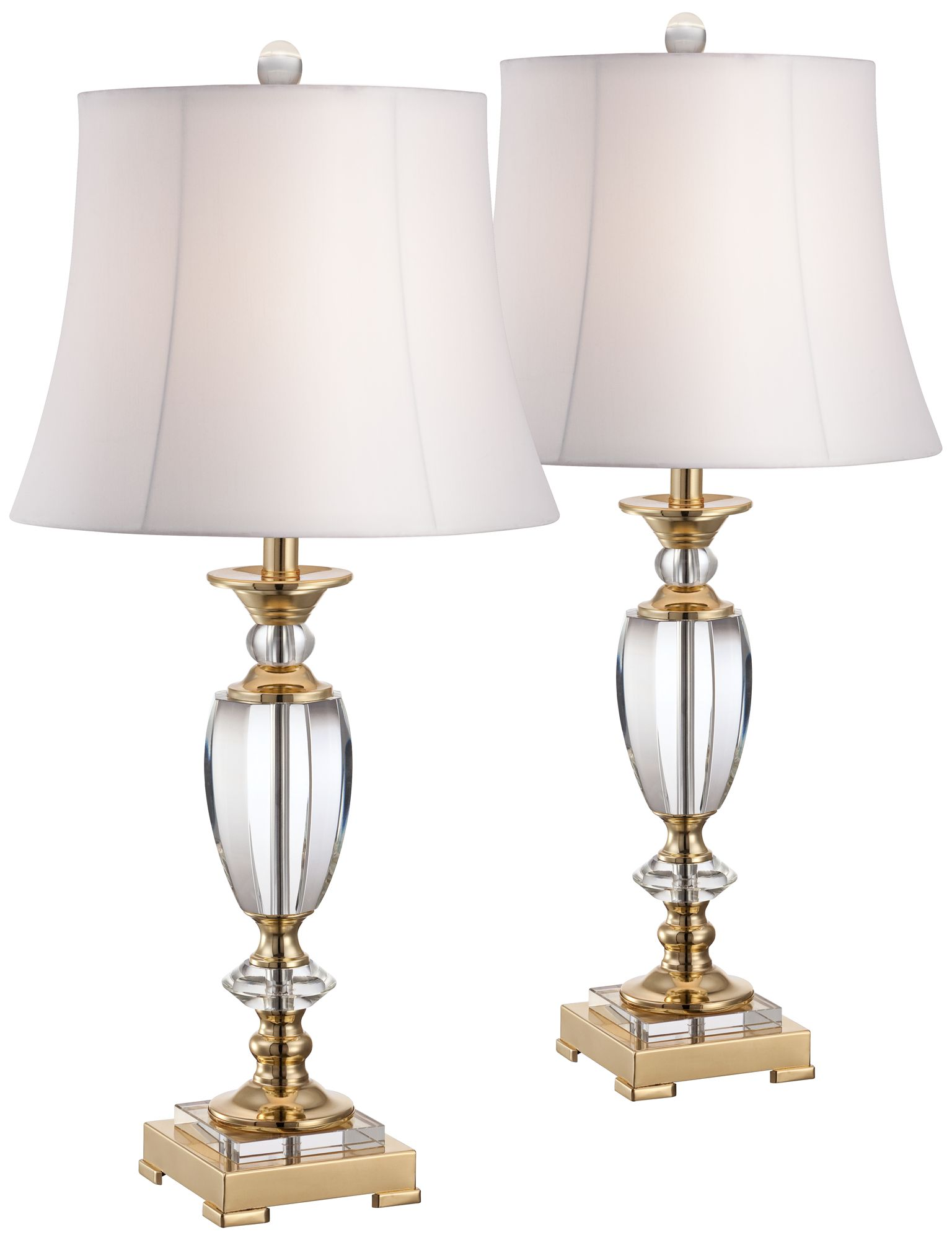Superior Set Of 2 Crystal And Brass Table Lamps
