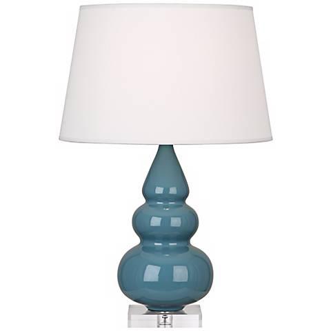 Robert Abbey Steel Blue Triple Gourd Ceramic Table Lamp