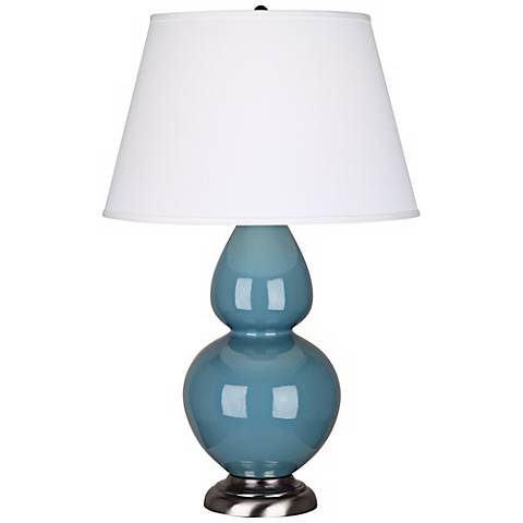"Robert Abbey 31"" Steel Blue Ceramic and Silver Table Lamp"