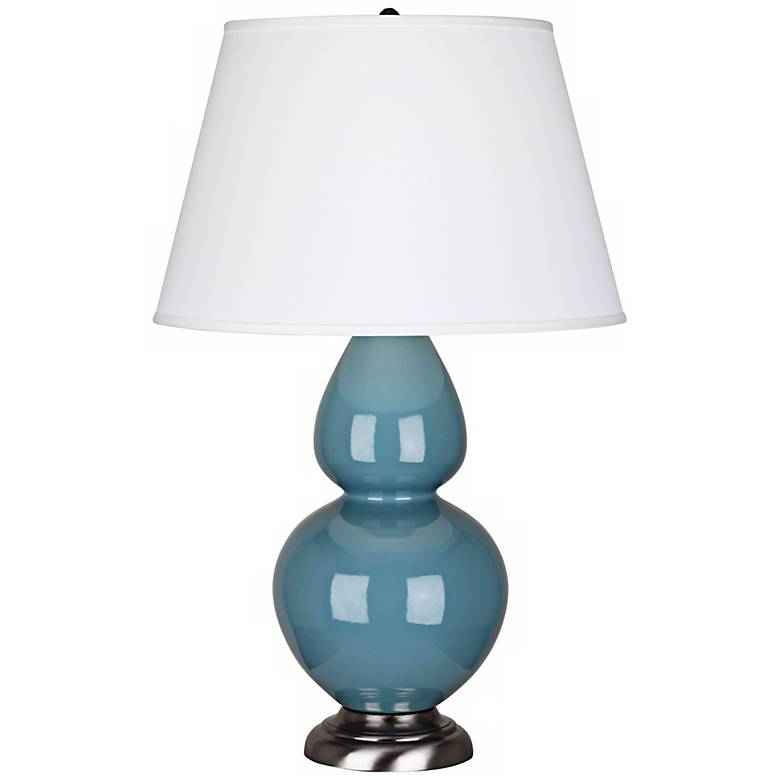"""Robert Abbey 31"""" Steel Blue Ceramic and Silver Table Lamp"""