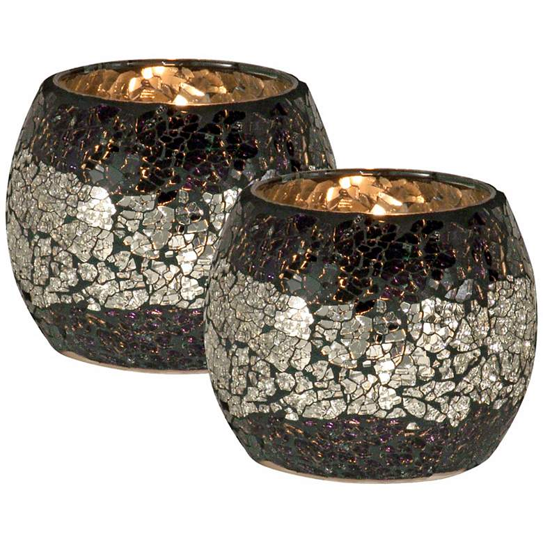 Dale Tiffany Quartz Glass Votive Candle Holder Set of 2