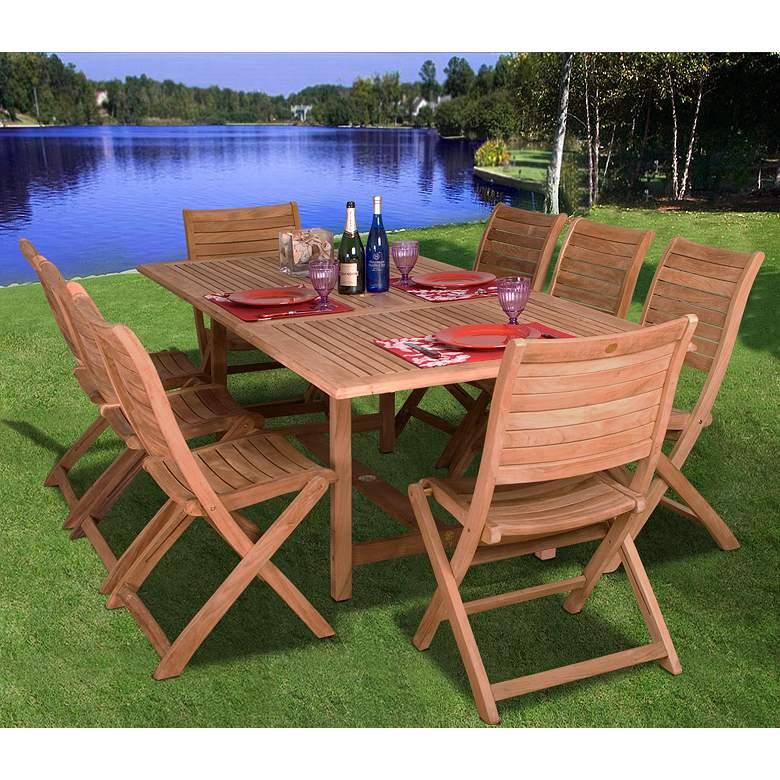 9 Piece Teak Wood DuAlameda blin Outdoor Dining Set