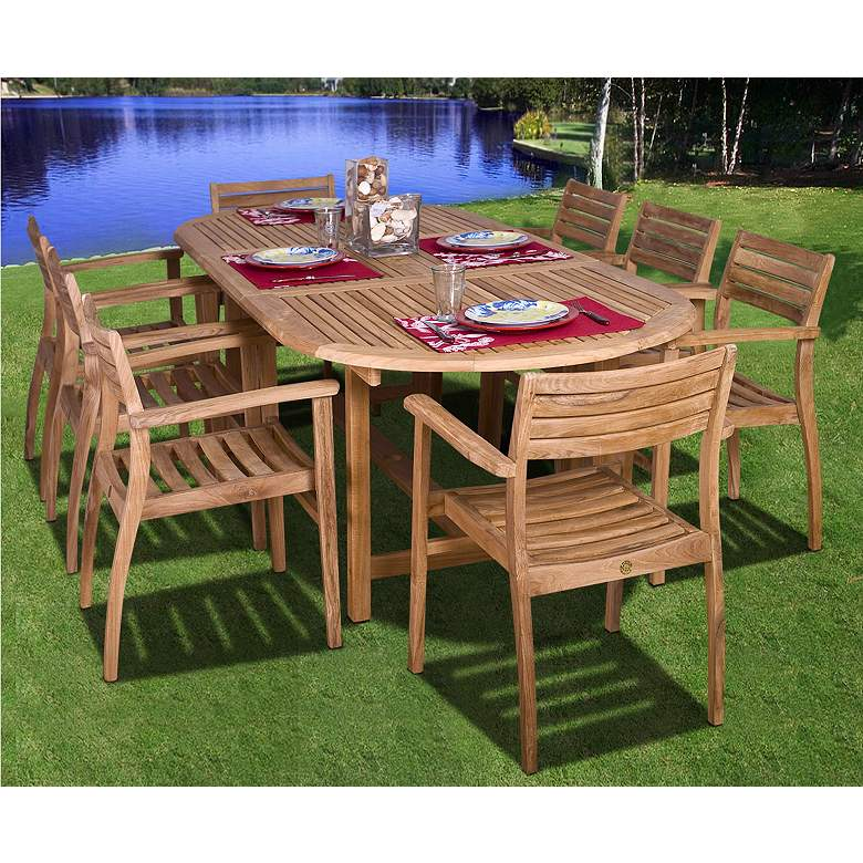 Renaldo 9-Piece Teak Wood Outdoor Table and Chairs