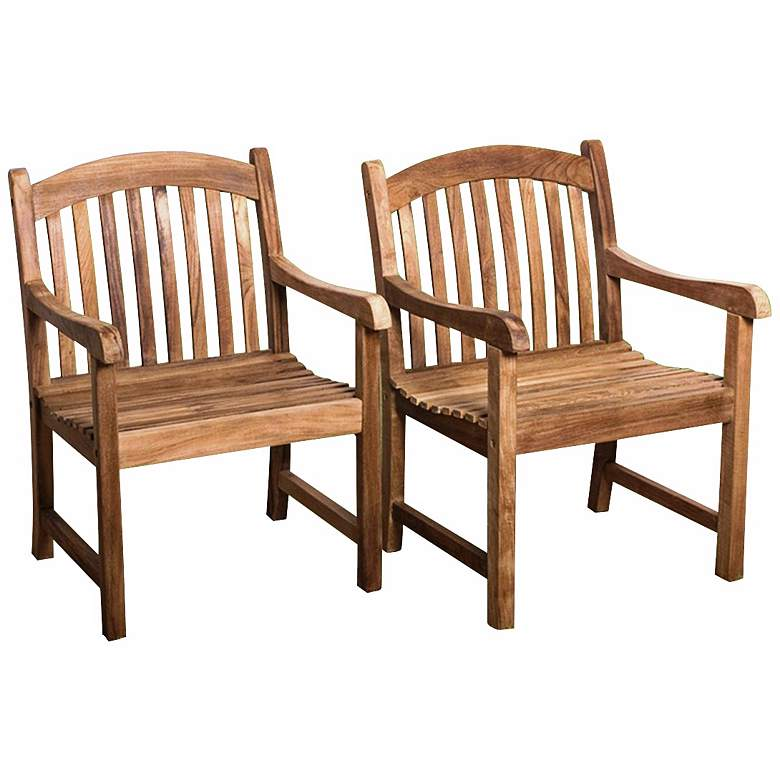 Teak Middleham Outdoor Armchairs Set of 2