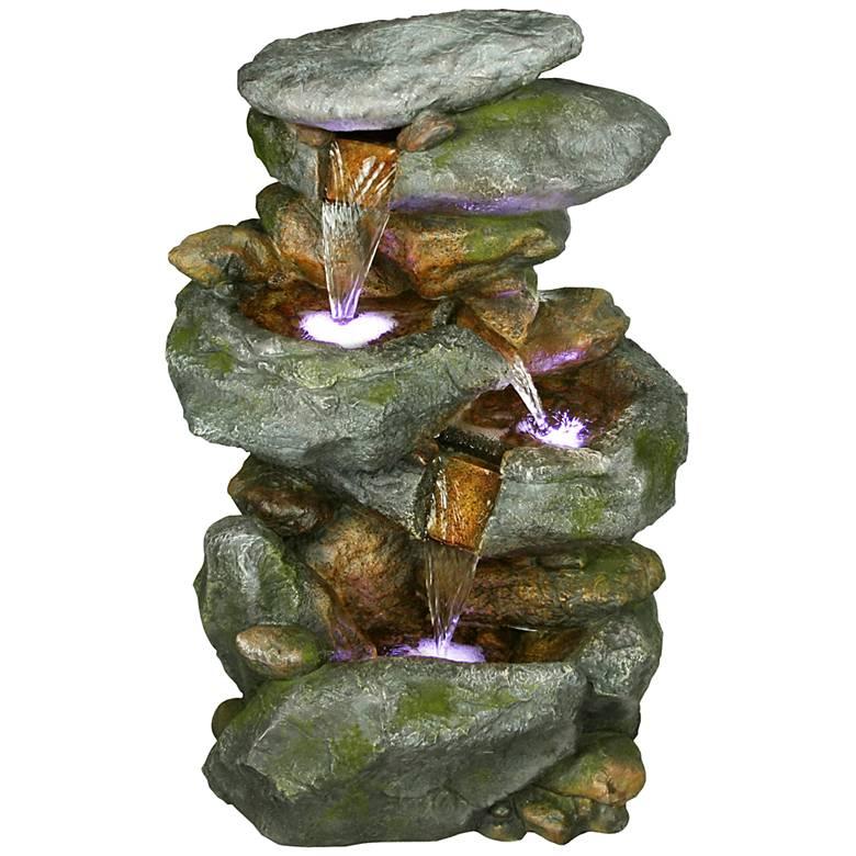 "Rocky Falls Three-Tier LED 22"" High Fountain"