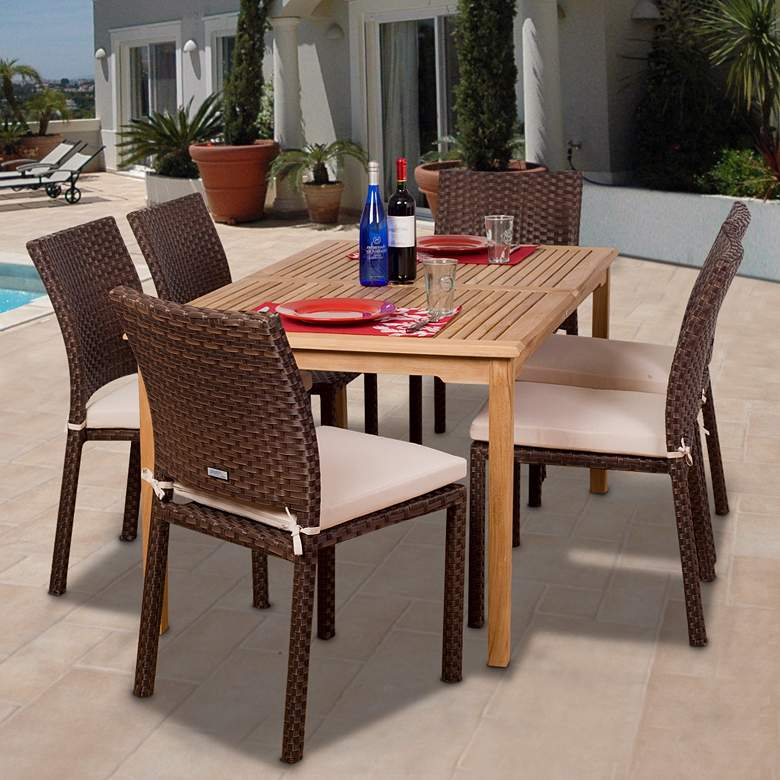 Colorada Collection Teak and Wicker Dining Set