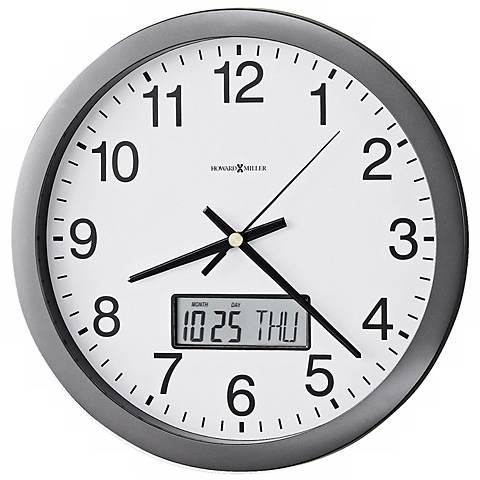 "Howard Miller Chronicle 14"" Wall Clock with LCD Calendar"